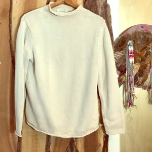 J.CREW VTG Chunky Cotton Knit Mock Neck Sweater L